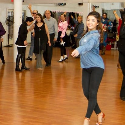 Group dance lesson at Crown dance studio